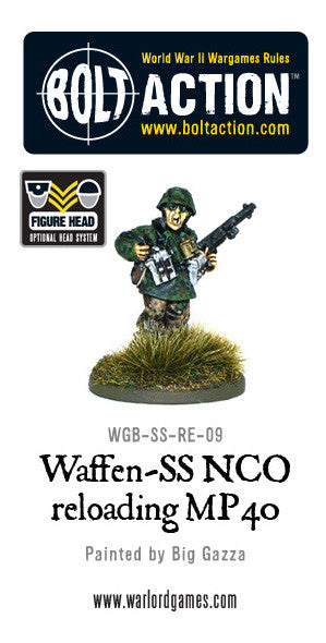 Waffen-SS NCO changing magazine on MP40 SMG