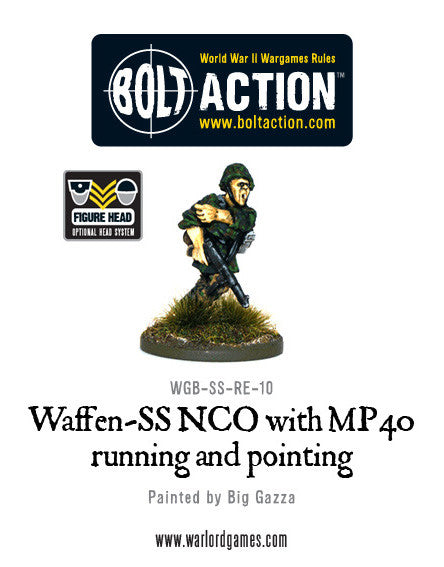 Waffen-SS NCO with MP40 SMG Running and Pointing