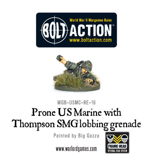 Prone US Marine With Thompson SMG Lobbing Grenade
