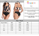 Cotrios Bikini Swimsuit for Women High Waisted Swimsuits Two Piece Tankini Ruffled Top with Swim Bottom Bathing Suits