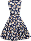 GRACE KARIN Boatneck Sleeveless Vintage Tea Dress with Belt