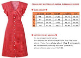 Daxvens Womens Summer Polka Dot Dresses Boho Button Up Ruffle Sleeve V-Neck A-Line Swing Midi Dress
