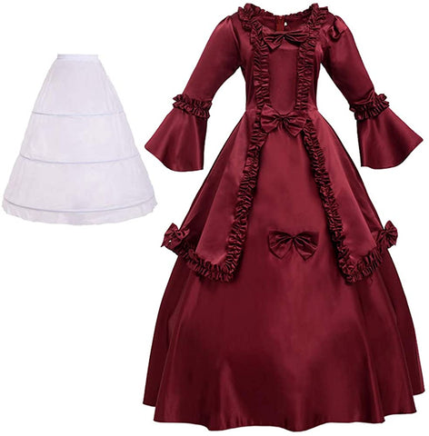 BPURB Women's Victorian Rococo Dress Medieval Costume (Dress with Hoop Skirt)