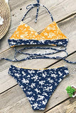 CUPSHE Women's Fresh Leaves Printing Cross Padding Bikini Set