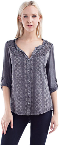 Solitaire Fitted Embroidery and Crochet Knit Back Button Down Blouse