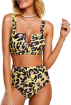 Tutorutor Womens High Waisted Leopard Printed Bikini Set Sexy Push Up V Wire Two Piece Swimwsuits Bathing Suit