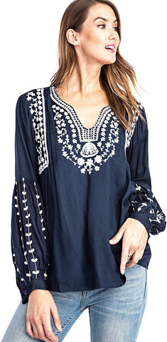 Solitaire Dori Embroidery Washed Blouse (Large, Navy)