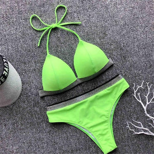 6 Colours Glitter Band Push Up High Waist Bikini Set - V1572