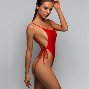 5 Colours Tie High Cut Leg Thong One Piece Swimsuit - V589