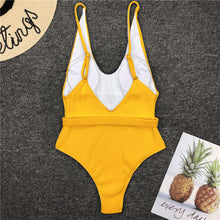 Load image into Gallery viewer, 5 Colours Ribbed High Cut One Piece Swimsuit - V1159