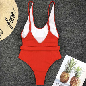 5 Colours Ribbed High Cut One Piece Swimsuit - V1159