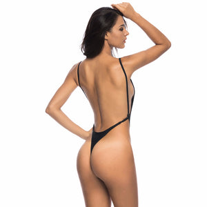 4 Colours High Cut Leg Thong One Piece Swimsuit - V478