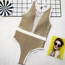 Load image into Gallery viewer, 2 Colours Mesh V Neck One Piece Swimsuit - V1581