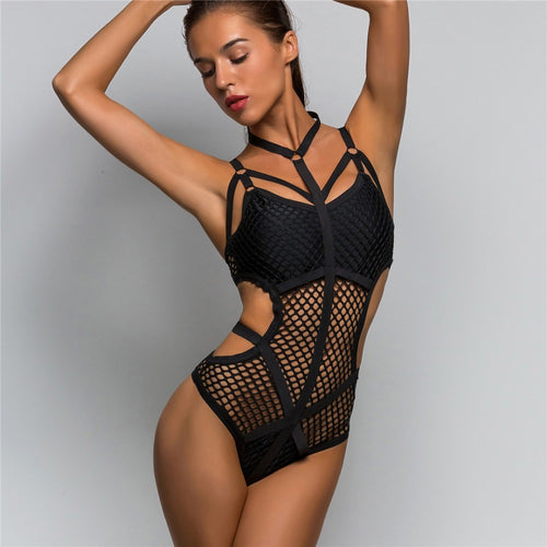 2 Colours Net Mesh One Piece Swimsuit - V536B