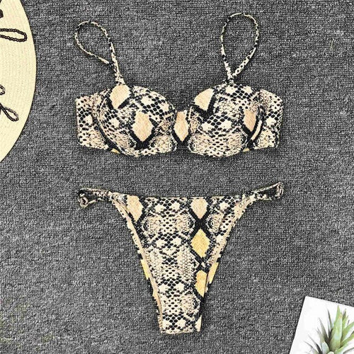 Snake Print Push Up Bikini Set - V1599