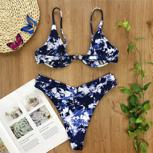 2 Colours V-bar Underwired High Waist Bikini Set - V1761