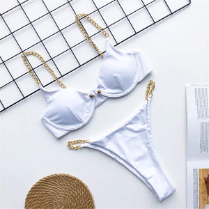 Golden Chain String High Cut Leg One Piece or Bikini t - V1667