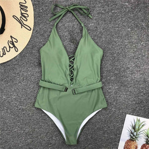 4 Colours Halter V Neck Lace Up One Piece Swimsuit - V1762