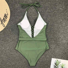 Load image into Gallery viewer, 4 Colours Halter V Neck Lace Up One Piece Swimsuit - V1762