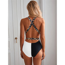 Load image into Gallery viewer, 2 Colours Deep V Neck Wrap Around One Piece Swimsuit - V1891