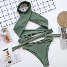 Load image into Gallery viewer, 4 Colours Wrap Around Mid Waist Bikini Set - V1826
