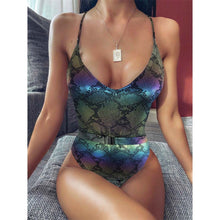 Load image into Gallery viewer, 5 Colours V Neck One Piece Swimsuit - V1831