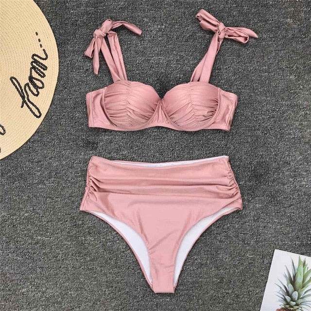 Pleated Push Up High Waist Bikini Set - V1797