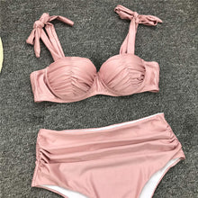 Load image into Gallery viewer, Pleated Push Up High Waist Bikini Set - V1797