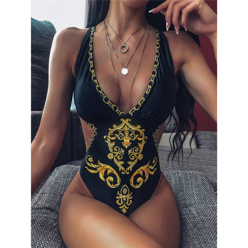 V Neck One Piece Swimsuit - V1807