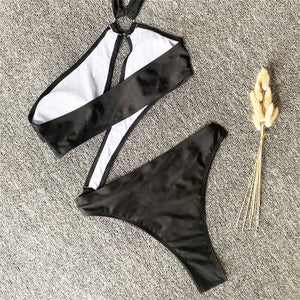 2 Colours Cut Out One Piece Swimsuit - V1960