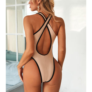 2 Colours High Leg Cut Out One Piece Swimsuit - V2003