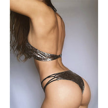 Load image into Gallery viewer, Halter Pu Faux Leather Lace Bikini Set - V1990