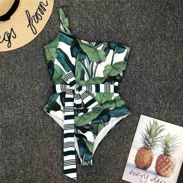 One Shoulder Leaf Printed One Piece Swimsuit - V1984