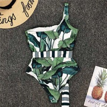 Load image into Gallery viewer, One Shoulder Leaf Printed One Piece Swimsuit - V1984