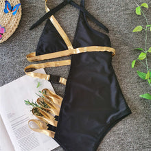 Load image into Gallery viewer, Gold Accent Backless One Piece Swimsuit - V1979