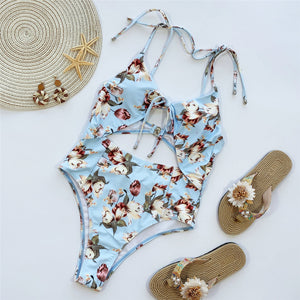 2 Colours Printed One Piece Swimsuit - V1961