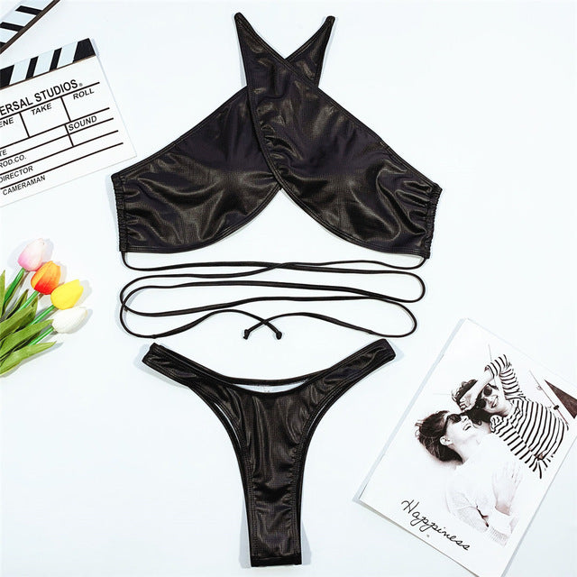 3 Colours Wrap Around Bikini Set - V1954