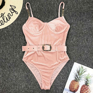 3 Colours Ribbed One Piece Swimsuit - V1778P