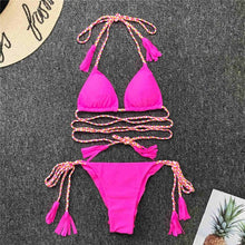 Load image into Gallery viewer, Tassel Wrap Around Bikini String Bikini Set - V1915