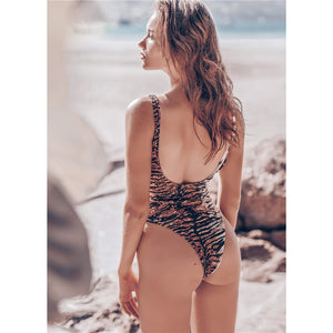 Tiger Printed Scoop Back Backless Monokini Bodysuit - V1907