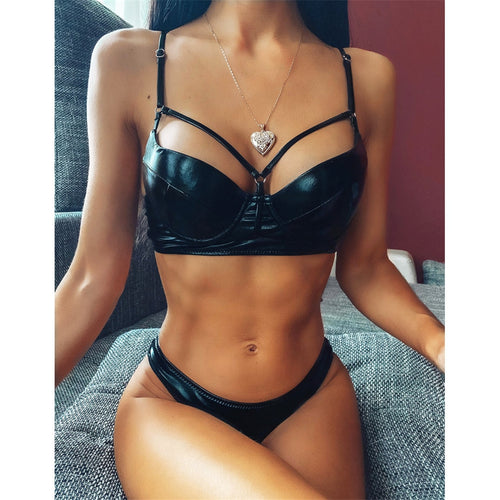 PU Faux Leather Push Up Bikini Set - V1897