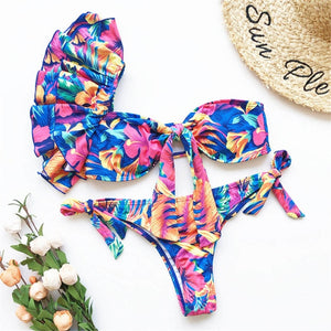 3 Colours One Shoulder Ruffled Bikini Set - V1887