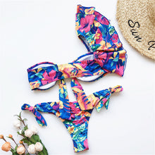 Load image into Gallery viewer, 3 Colours One Shoulder Ruffled Bikini Set - V1887