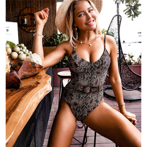 Belted Velour One Piece Swimsuit - V1778