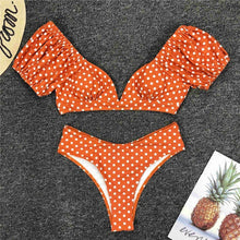 Load image into Gallery viewer, Polka Dots V Neck Mid Waist Bikini Set - V1909
