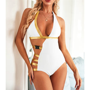 Gold Accent Backless One Piece Swimsuit - V1979