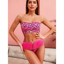 Load image into Gallery viewer, 3 Colours Bandeau Tassel Bikini Set -  V1894