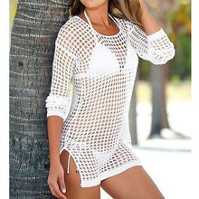Load image into Gallery viewer, 3 Colours Knitted Crochet Tunic Beach Cover Up - V96
