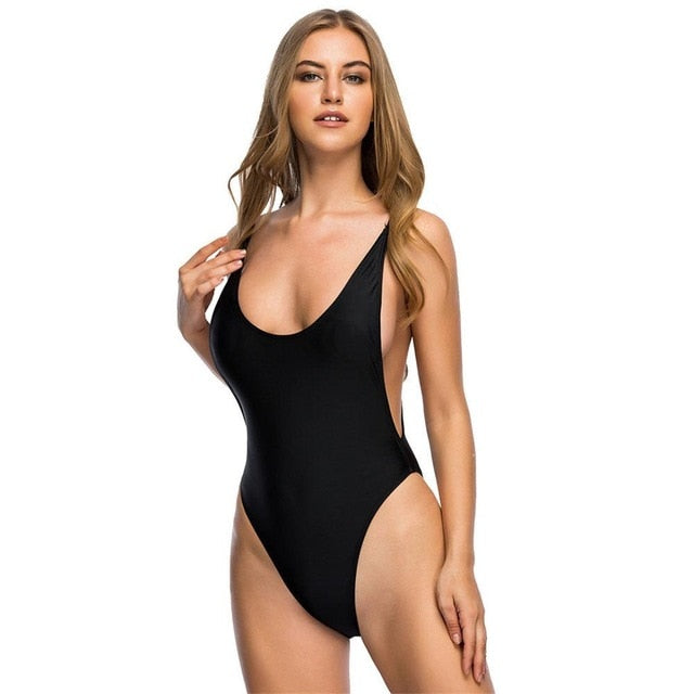 2 Colours High Leg Open Bach Swoop Neck One Piece Swimsuit - V113P