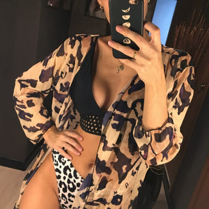 Chiffon Leopard Printed Beach Cover Up - V1071